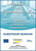"""Еурофедоп одржава семинар на тему """"Дигитализација и квалитет јавних услуга"""" у Бечу, Аустрија, од 22. до 24. септембра 2021. године."""